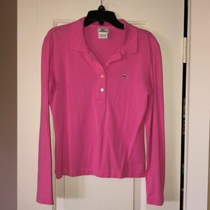 Lacoste polo pink 40 long sleeve L